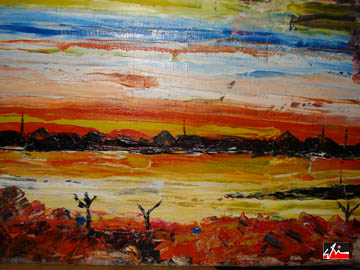 title: sun set sa dumpsite/ mediem: oil on canvass